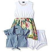 GUESS Baby Ss Denim and Chiffon Dress + Culotte, Yellow Capri Flower, 3/6M