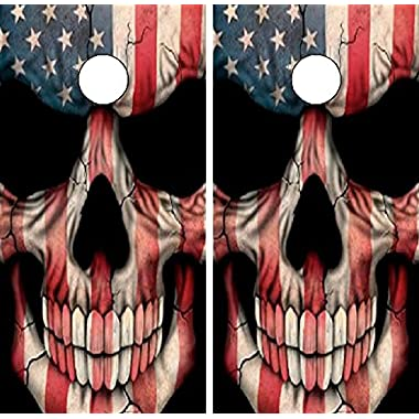 c22 american flag skull cornhole laminated decal wrap set decals board boards vinyl sticker stickers bean - Cornhole Board Wraps