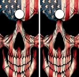 C22 American Flag Skull CORNHOLE LAMINATED DECAL WRAP SET Decals Board Boards Vinyl Sticker Stickers Bean Bag Game Wraps Vinyl Graphic Tint Image Corn Hole