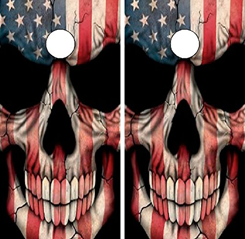 C22 American Flag Skull CORNHOLE LAMINATED DECAL WRAP SET Decals Board Boards Vinyl Sticker Stickers Bean Bag Game Wraps Vinyl Graphic Tint Image Corn Hole by Avery