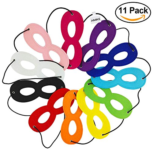 Aimike Party Dress Up Superhero Mask Cosplay Mask with Elastic Ribbon for Kids(Pack of 11 Colors) (Super Hero Dress Up)
