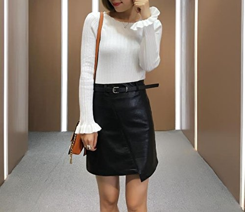 Femme Haute en Zippe Moulante Cuir Cuir Sexy Hem jupe Mat PU Cosanter Simili Asymtrique Crayon Taille Noir en Mini wT6ABnWqxH