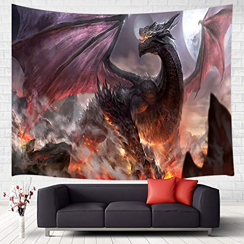 Fantasy Dragon Tapestry Wall Hanging, Majestic Dragon Flying on Forest Mountain to Destroy Castle Fantasy Design Art Tapestries Home Decor Wall Decor for Bedroom Living Room College Dorm, 60x40 Inches