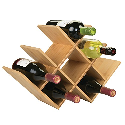 mDesign 100% Bamboo Free-Standing Water Bottle and Wine Rack