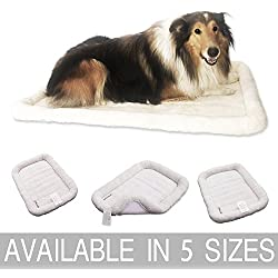 """Paws of Mind Padded Bolster Pet Bed for Dogs & Cats by, Fits Crates & Carriers, Cream (18"""" x 12"""", Cream)"""