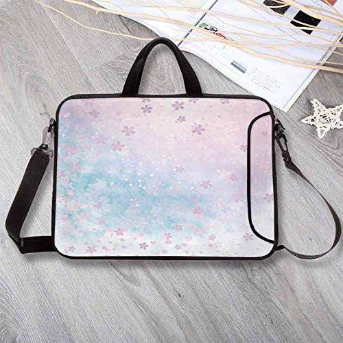 House Decor Waterproof Neoprene Laptop Bag,Falling Cherry Blooms in The Air April Weather Soft Colors Scenery Illustration Print Laptop Bag for Business Casual or School,14.6