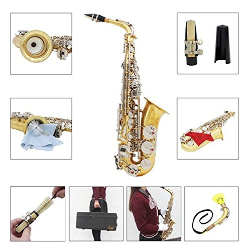 LADE WSS-865 Brass Alto Saxophone Silver Button with Accessories by SOUND HOUSE 49 (Image #5)
