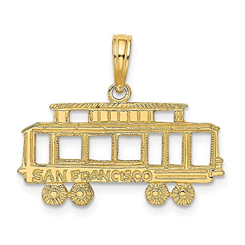 14k Yellow Gold San Francisco Cable Car Pendant Charm Necklace Travel Transportation Fine Jewelry Gifts For Women For Her