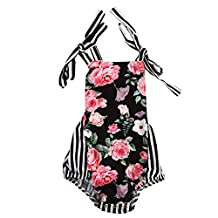 Diamondo Girl Floral Romper Sleeveless Jumpsuit, Girls Cute Adorable Jumpsuit