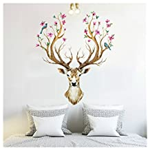 BIBITIME Merry Christmas Booming Flower Antlers Sika Deer Wall Sticker for Nursery Home Decor Decal for Living Room Bedroom Windows Door Shop Showcase