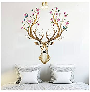 BIBITIME Merry Christmas Booming Flower Antlers Sika Deer Wall Decal  Sticker For Nursery Moose Wall Decor