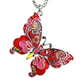 Luckeyui Red Long Butterfly Necklaces & Pendants Gift for Women Personalized Insect Charm Jewelry