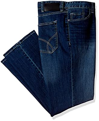 Calvin Klein Jeans Men's Big and Tall Relaxed Straight Fit Jean Authentic Blue