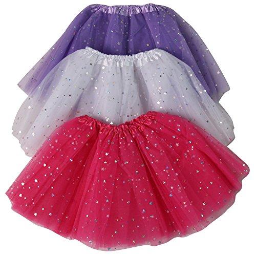 (Girls Ballerina Sparkle or Chiffon Tutu Beginner 3 Pack Dress Up Set (Hot pink/Lavender/White sparkle))