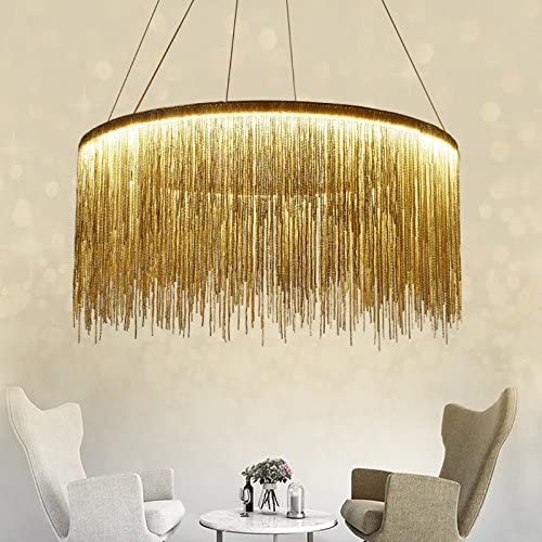 7PM Chrome Round Chandelier Modern Aluminum Chain Pendant Light Contemporary Ring Ceiling Lighting Fixture for Living Room Dining Room 31.5 Inch