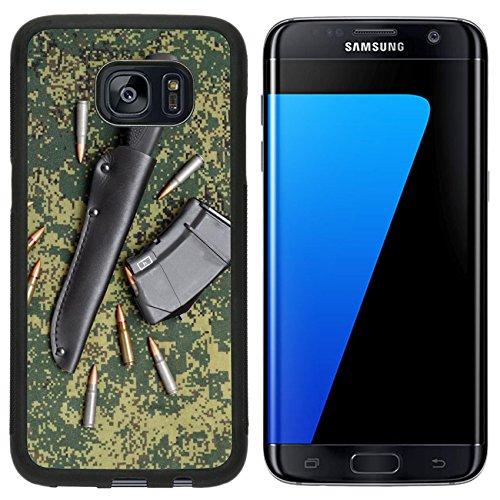Black Aluminum Leather Sheath - Liili Samsung Galaxy S7 Edge Aluminum Backplate Bumper Snap Case iPhone6 ID: 25121580 Military in black leather sheath and cartridges on digital camouflage backround