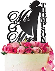 Personalized Wedding Cake Topper Customized Mr. and Mrs. Last Name 4 Color Type and 24 Colors Design 6 (Solid Colors)