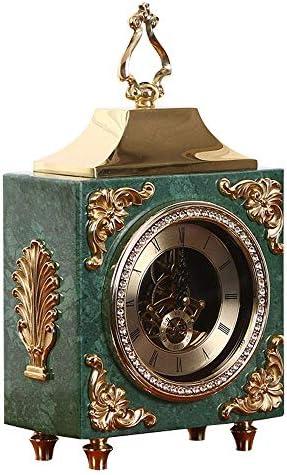 マンテル時計中空ムーブメント銅暖炉時計レトロデスククロックミュートデスクトップバッテリー駆動 装飾ギフト家庭用 日本産 プレゼント  色:緑