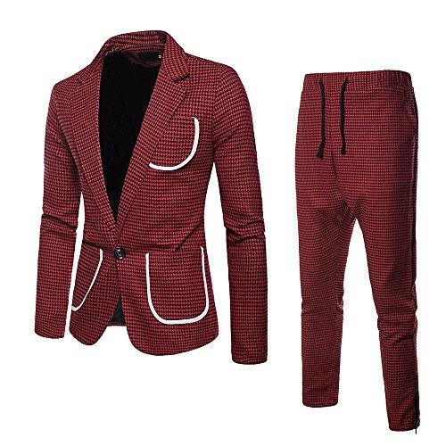 À Veste Suit Cardigan De Costumes Pièces Business Treillis Bouton Rera pantalon Rouge Homme Occasionnels Un 2 Ensemble Blazer Décontracté Carreaux 0qwt1PZ