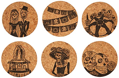 Corkology Day of the Dead Coaster Set, Cork