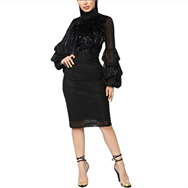 92e96f19e4434 VERWIN Fur Collar Lantern Sleeve Bodycon Dress Feather Midi Dress Party  Cocktail Evening Dress Black S