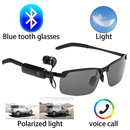 4605b1ef2c1 Bluetooth wireless invisible headset glasses sunglasses waterproof smart  song artifact 2 color microphone phone … (Long cube Sunglasses)