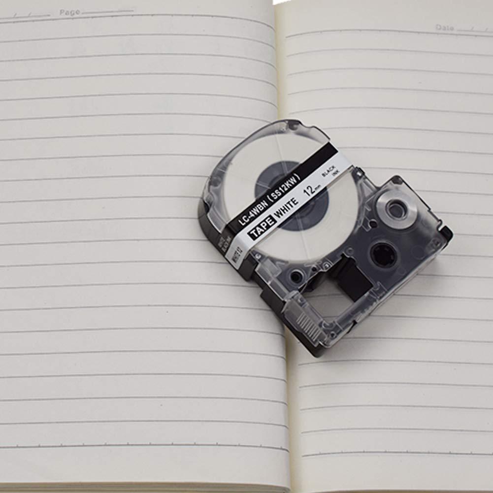12mm x 30 piedi nero su bianco 1//2 3x Cassetta Nastro SZEHAM SS12KW compatibile Epson LC-4WBN Nastri Etichette per Epson Labelworks LW-300 LW-400 LW-500 LW-600p 8m