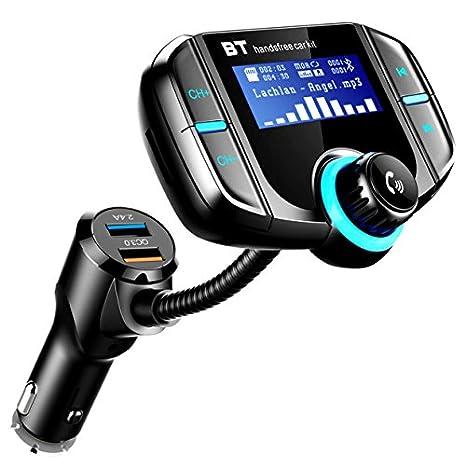Transmisor FM Bluetooth Coche, ICOUVA Transmisor FM Adaptador de radio inalámbrico Manos libres Car Kit Cargador rápido QC3.0 universal Puerto USB dual MP3 ...