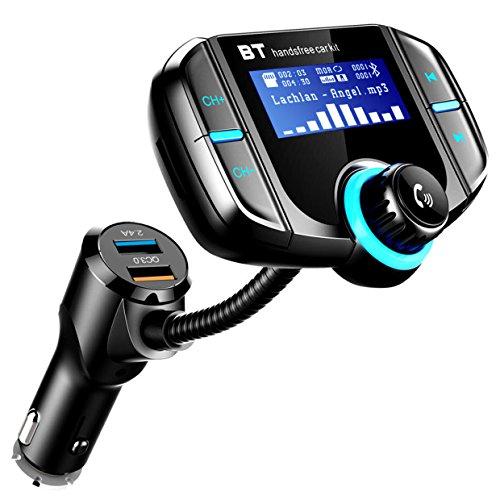 Transmisor FM Bluetooth Coche ICOUVA Transmisor FM Adaptador de radio inalámbrico Manos