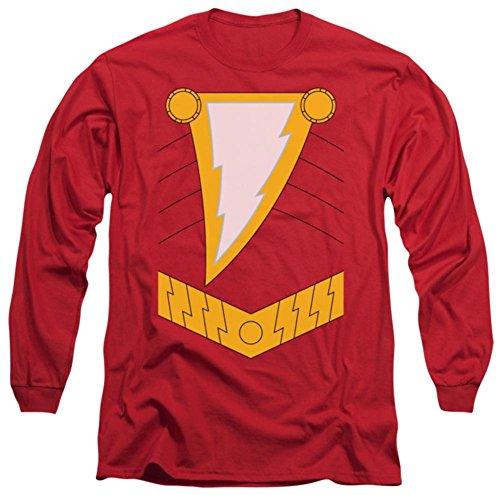 Shazam Costumes (Long Sleeve: Justice League - Shazam Costume Tee Longsleeve Shirt Size XL)