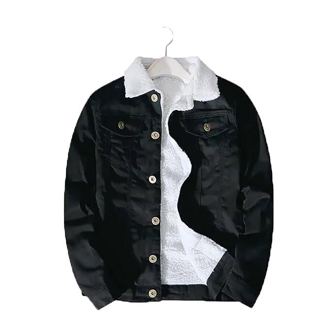 Youmu Men Fleece Fur Lining Denim Jacket Winter Tehermal Collared