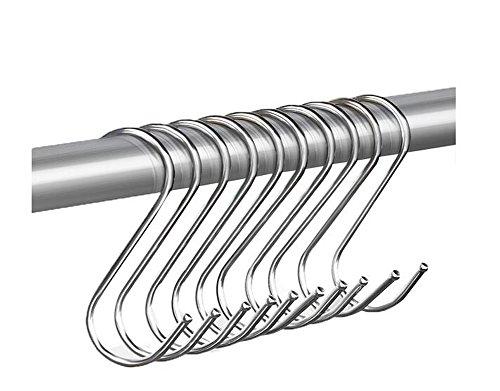 erioctry 30PCS Multi-Use Stainless Steel S Shaped Hooks Hanging Hooks Hangers for Bathroom Bedroom Office Kitchen Garden