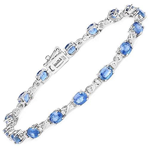 7.81 Carat Genuine Blue Sapphire and White Diamond 14K White Gold ()