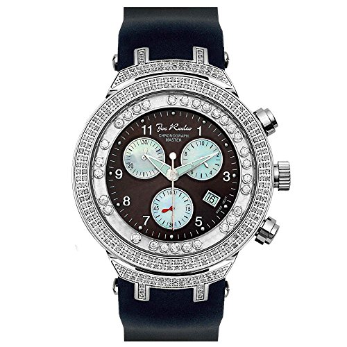 Joe Rodeo JJMS3(W) Master Man Diamond Watch, Black Dial with Black Band