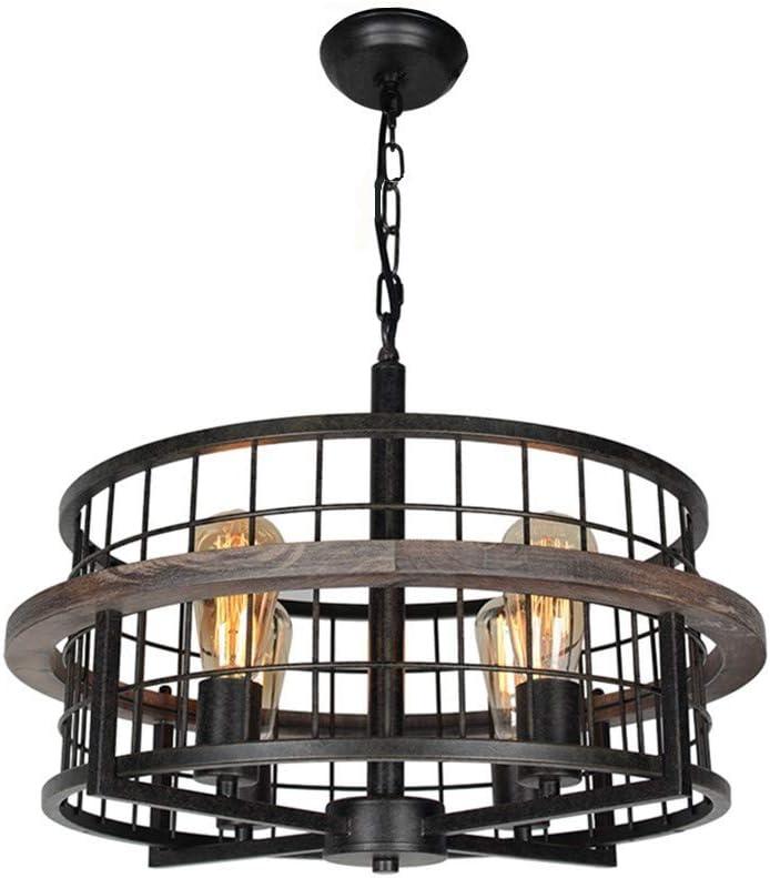 Baiwaiz Round Rustic Farmhouse Chandelier, Wood Metal Wire Cage Pendant Light Drum Shaped Industrial Chandelier Light Fixture 4 Lights Edison E26 073