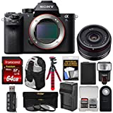 Sony Alpha A7S II 4K Wi-Fi Digital Camera Body with 35mm f/2.8 Lens + 64GB Card + Battery & Charger + Backpack + Flex Tripod + Flash + Kit