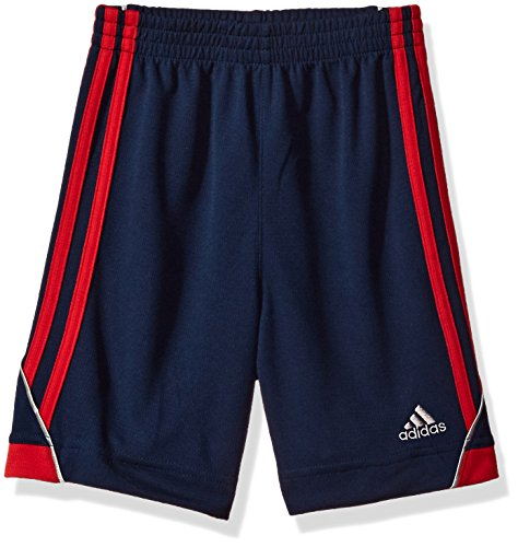 - adidas Boys' Toddler Active Stripe Short, Collegiate Navy Heather Body Scarlet, 3T