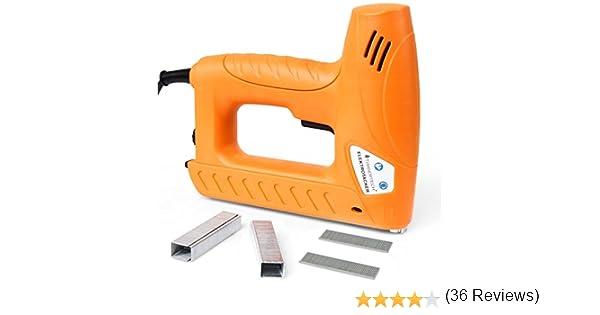 25 x 19 x 6 cm Clavadora Electrica Grapadora El/éctrica Profesional para Tapizar con 400 Grapas de 8 mm a 16 mm y 100 Clavos de 15 mm a 16 mm de longitud