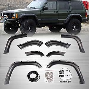 8 pcs bolsillo Offroad rueda amplia Fender Flares para 84 - 01 Jeep Cherokee XJ 4 puertas: Amazon.es: Coche y moto