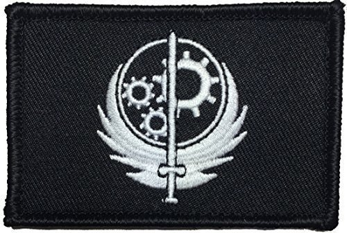 """[Single Count] Custom and Unique (3'' x 2'') Rectangle """"Gaming"""" Fallout Style Brotherhood Of Steel BOS Faction Morale Embroidered Applique Patch {Black & White Colors} [Licensed] by Patch Squad USA"""
