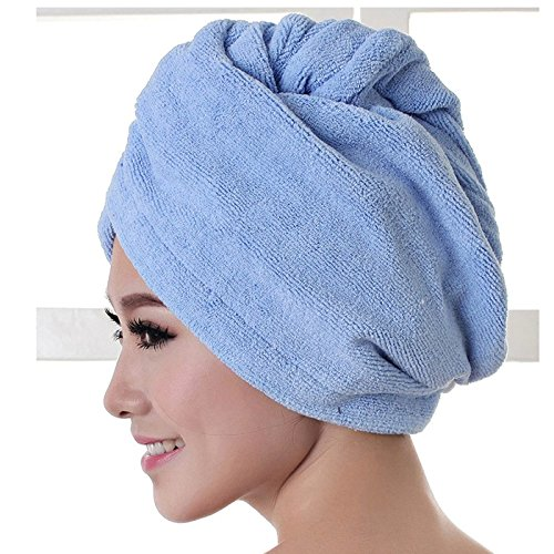 Crytech Microfiber Quick Magic Hair Dry Towel Wrap Hat Anti-Frizz Turban Twist Bath Shower Hair Drying Head Towels with Button Super Absorbent for Long Curly Hair Wrapped Dryer Cap (Blue)