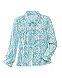 La Cera Flannel Bed Jacket, Aqua Floral, 3X