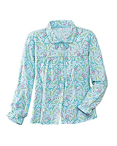 - La Cera Flannel Bed Jacket, Aqua Floral, Large