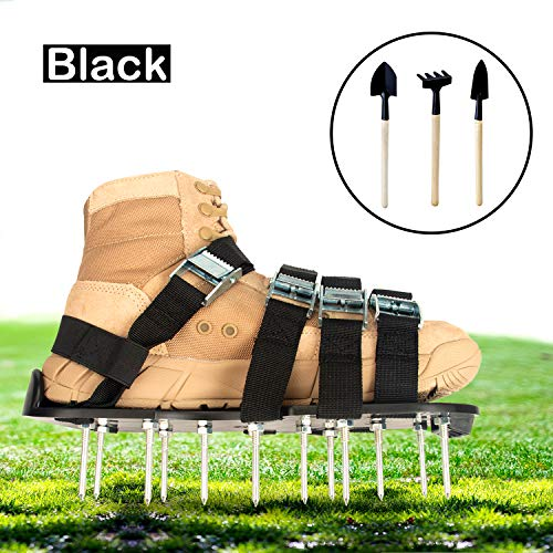 Goforbe Lawn Aerator Shoes, 4 Adjustable Straps Lawn aerating Shoes, Lawn Shoes for Women and Men Heavy Duty, Aerating Your Yard, Lawn, Roots & Grass (Black)