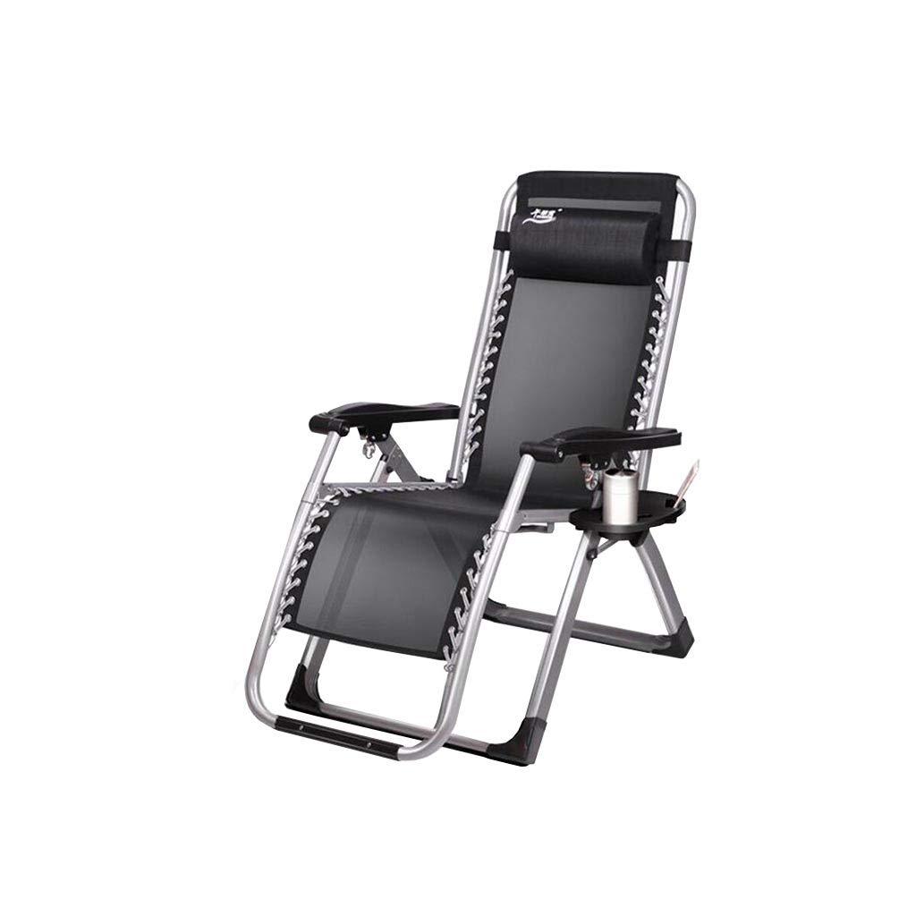 QZ HOME Stühle, Garten Sonnenliegen Stahl Multifunktions Liegestuhl StrandstuhlMulti-Winkel-Anpassung Zusammenklappbare Kopfstütze Schwarz