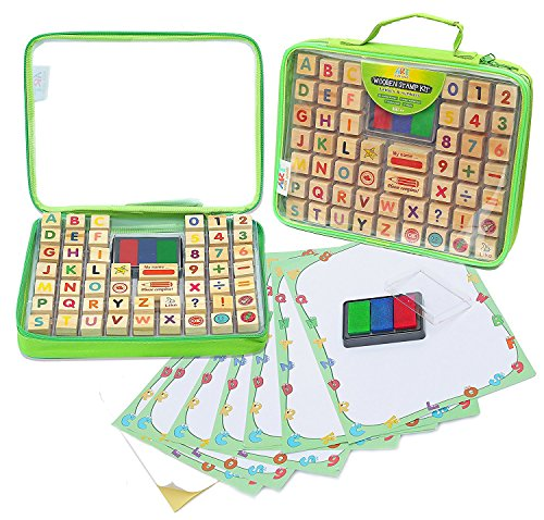 ps - 67 Pcs. Set of ABC, Numbers, Emojis w/ Non-Toxic, Washable 3 Color Ink Pad and Carrying Case. Crafts for Children, Teachers and Parents. Fun Travel Toy for Kids. Amazing Gift! (Abc Stamps)