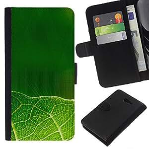 EJOY---La carpeta del tirón la caja de cuero de alta calidad de la PU Caso protector / Sony Xperia M2 / --Hojas verdes