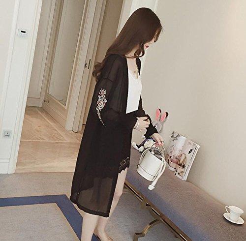 [Nexeed] レディース シフォン ロングカーディガン 花柄 刺繍 長袖 薄手 ガウン
