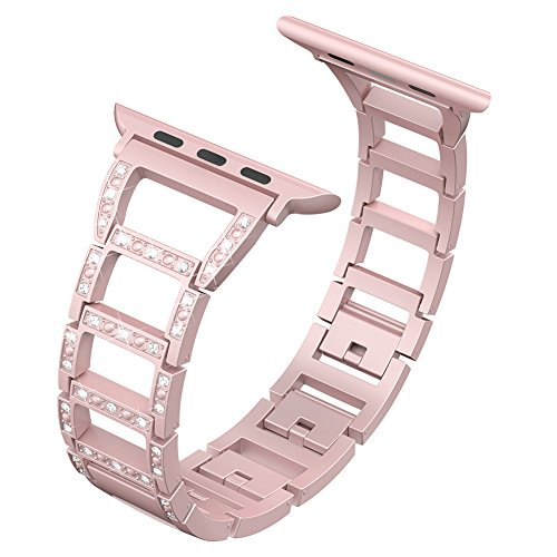 Valband Replacement for Apple Watch Band 38mm 42mm,Metal Bling Wristband Replacement Strap Bracelet for Apple Watch Series 3 Series 2 Series 1 Nike+ Sport Edition (04-Rose Pink-42mm)