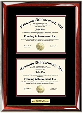 personalized gold or silver engraved plate college double diploma frame glossy prestige mahogany with gold